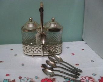 international silver company  England  glass and silver set