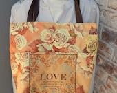 """Tote, """"Love"""" Bible Bag, Handmade Tote, 1 John 4:19 Scripture Tote,  Fabric Handbag, Christian Tote, Golds and Brown Fabric Tote,,Jesus Bag"""