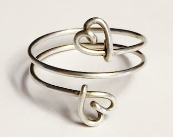 Double Heart Ring   Heart Ring   Valentines Ring   Valentines Jewelry   Sterling Silver Ring