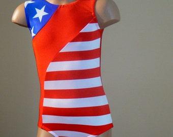 Patriotic Inspired Gymnastics Dance Leotard. Toddlers Girls  Gymnastics Dance Leotard. Dancewear. SIZES 2T - Girls 10