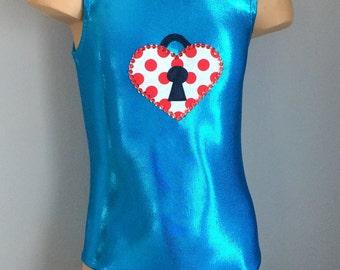 Gymnastics Dance Leotard with  Heart Lock Applique. Toddlers Girls gymnastics Dance Leotard. Dancewear.  2T- Girls 12