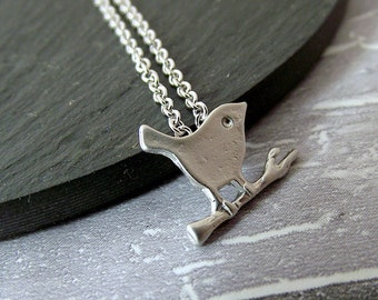 Bird necklace, silver bird necklace, tiny bird, bird jewelry, charm necklace