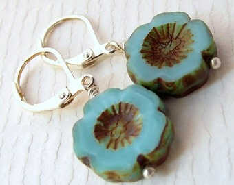 Turquoise flower earrings, czech glass earrings, turquoise earrings, dangle earrings