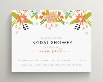 summer floral bridal shower invitation // couples shower // engagement party // vintage // feminine // flower // baby shower // wild flowers