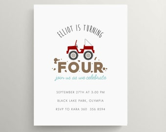 red jeep kids birthday invitation set // baby shower invitation // jeep truck // thank you note // off road // mud // 4 wheeler // dirt