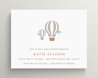 hot air balloon baby shower invitation set // baby announcement // birthday invitation // balloon // modern invite // meet baby // note card