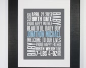1st Baby 8x10 Typography Print Letterpress Style Custom Birth Announcement Modern Word Art Subway Art