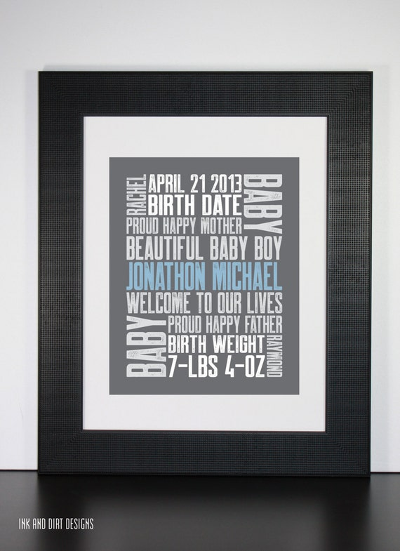 1st Baby 8x10 Typography Print Letterpress Style Custom Birth Announcement Modern Word Art Subway Art