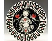 Valentine Ceramic Plate - Girl with Hearts - Jenny Mendes Design