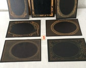 Victorian Photo Mat Frames...Wedding Table Numbers...Lot of 6 New Old Stock...Steampunk Midnight Black and Gold Mats...Lot #1