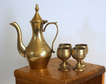 Small Brass Tea or Coffee Set 4 Footed Cups Vintage Brass