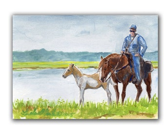 Art Original Chincoteague Pony Foal Artwork Acrylic Painting LLMartin Virginia Country Fun Saltwater Cowbooy
