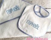 Monogrammed Hooded Baby Towel and Bib Set