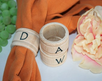 Napkin Ring Holders Personalized with Your Letter of Choice-Personalized Wedding Napkin Rings