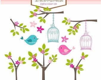 ON SALE Digital clip art birdcage, bird clip arts, springbirdsntrees, invitations, card making , INSTANT Download