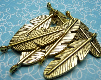 Gold Feather Charm 29mm - 4pc