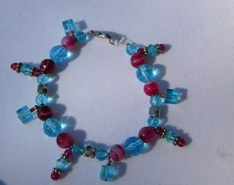 Sky blue and magenta with dangles