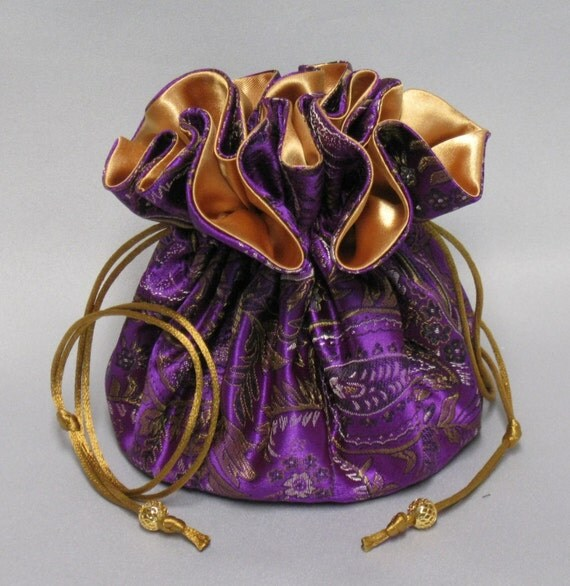 Jewelry Tote---Satin Brocade Drawstring Organizer Pouch---Elegant Purple Paisley Design---Large Size