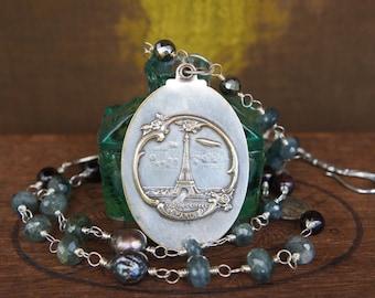 Antique assemblage necklace with Paris Eiffel Tower antique mirror locket, and handmade gemstone chain.