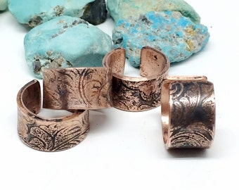 Copper Ear Cuff, Tooled Leather Design, Jewelry for Women,