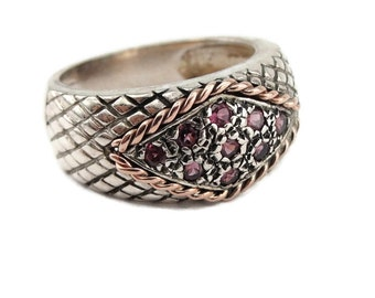 Ruby stone 925 sterling silver ring 9K Rose Gold ring, Cluster Vintage ring, Ruby Band Ring, Red Stone Ring Size 7.5, Free Shipping