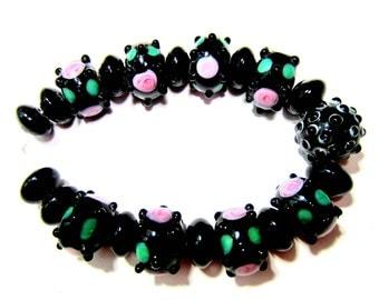 21 Lampwork glass beads black pink black 10mm x 14mm jewelry making bead jewelry SB1