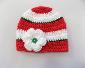 Christmas Hat, Baby Girl Christmas Hat, Holiday Beanie, Red and Green Hat, Baby Girl Striped Hat