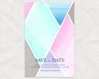 geometric wedding save the date or engagement announcement - diy printable file - modern watercolour effect diamond custom concrete & candy