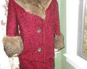 Great 1950's Red/Black Suit - Jacket w/Fur Trim & Skirt - Size M
