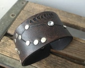 Leather zodiac cuff bracelet- Aquarius
