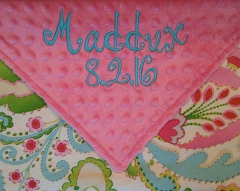 Personalized Monogrammed Baby Security Lovey Blanket Colorful Kumari Lovey Pink Minky Baby Girl 18x18