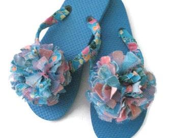 Decorated Flip Flops Pink Blue Flower Boho Festival Party Wedding Summer