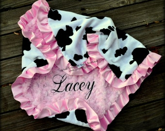 Baby Girl Blanket,Cow Animal Minky,Pink Minky Swirl, Satin Ruffle, Personalized, Toddler, Stroller, Crib, Toddler Bed,Teen