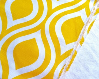 Upholstery Decorator Fabric - Mod Yellow and White Teardrop Ogee - By the Yard