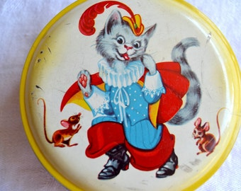 Vintage Puss In Boots Candy Tin - George Horner England - Cat and Mouse