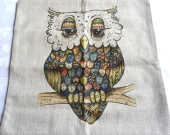 Linen Pillow Cover - Mod Owl - 16 inch