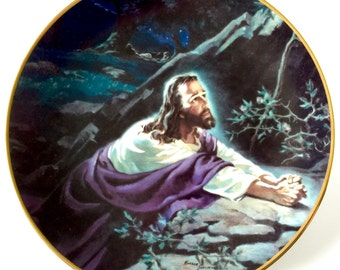 "Hamilton Collection ""Jesus in the Garden"" by, Warren Sallman from the Portraits of Jesus Plate Collection Limited Edition Warner Press Inc."