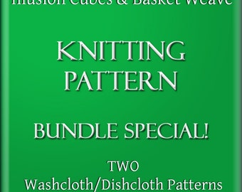PDF Bundle Illusion Cubes and Basket Weave Knitting Patterns DIY Two Washcloth Dishcloth Tutorials 2 Files 2 Styles Instant Download Files
