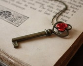 ON SALE Beauty and the Beast Key Necklace - Rose and Key Necklace - Fairy Tale Necklace - Fairy Tale Key