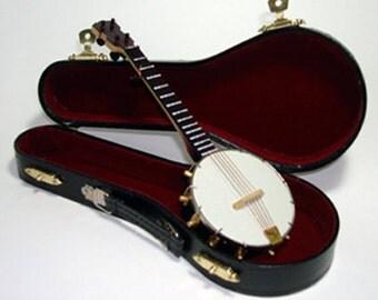 Vintage Musicians Banjo With Case Handcrafted Instrument Detailed Five String Miniature 9.5 inch Plush Red Velvet Lined Gold Metal Hardware