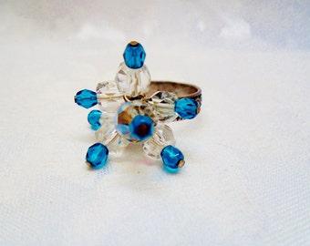 Vintage 925 Sterling Silver Art Nouveau 14 Swarovski AB Crystal Beads Midnight Blue Faceted Ornate Band High Fashion Resort Runway Statement