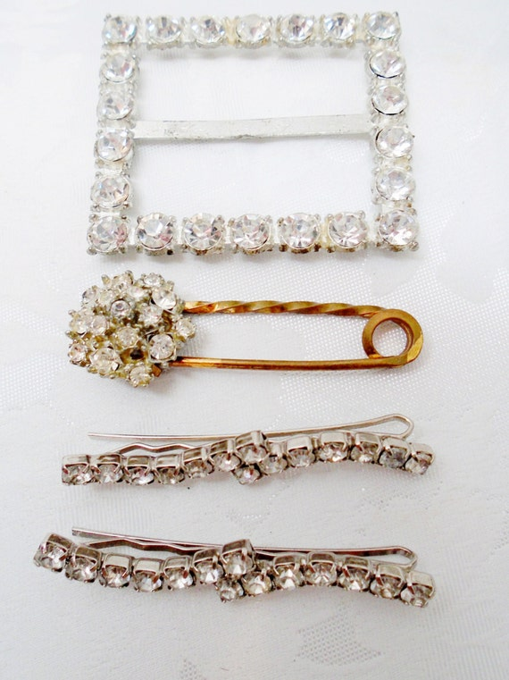 Vintage Crystal Hair Clips Belt Buckle Copper Pin Brooch Victorian 1920's Christmas Lot Destash Retro Art Deco Art Nouveau Runway Statement