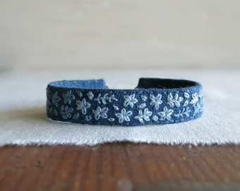 Blue Floral Boho Cuff Bracelet - Bohemian Linen Bracelet