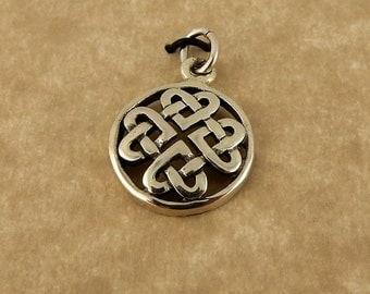 Sterling silver Celtic Knot Heart pendant, charm