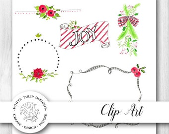 Watercolor Clipart - Christmas Poppies and Poinsettias plus FREE Bonus!, Instant Download, Handpainted, Detailed Artwork
