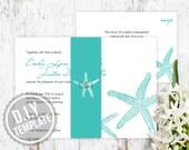 DIY Custom Wedding Invitation - Modern Star Fish Destination Wedding Theme - Printable PDF