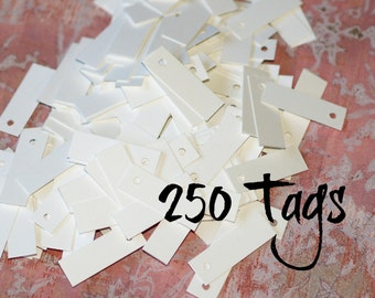 """250 Mini Tags ... Bright White Tags .5"""" x 1.5"""" Price Tags Jewelry Tags Blank Tags Etsy Seller Supplies Merchandise Tags Bulk Quantity"""