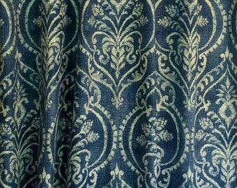 "Two 50"" wide, pair, designer curtain panels, drapes Swavelle/Mill Creek Dalusio Damask Denim"