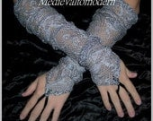 Long Gloves Fingerless Gray Custom Design Pair of 2 Steampunk Gothic Victorian Style in Soft Lace Size S/M
