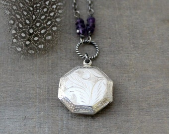 Silver Locket Necklace, Amethyst Locket, February Birthstone Locket, Sterling Silver Locket Pendant, Oxidize Silver Jewelry, Push Present